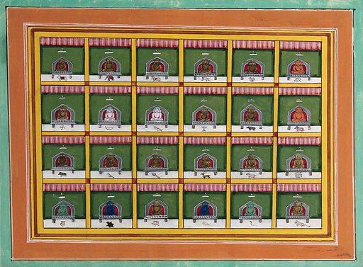 The twenty-four tirthankaras of the Jain religion. Gouache by an Indian artist, 18 –. A so-called Jaipur School painting. Jainism. Work ID: m3d5tyva.