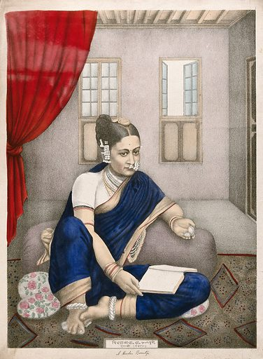 A seated Indian woman looks at her pocket watch, with a book on her knee. Chromolithograph by an Indian artist,1800s. Work ID: qvqk6yfe.