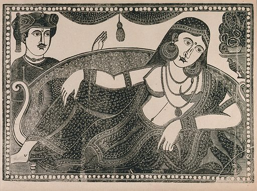 A lady reclines on a pillow attended by one male. Engraving by an Indian artist, 18 –. Work ID: et95g2w5.