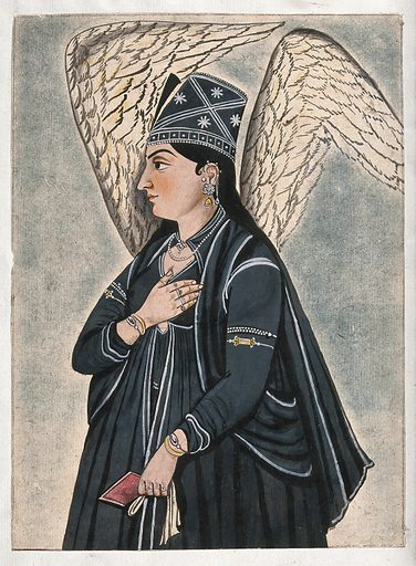 A Mughal style peri (fairy) dressed in black. Gouache painting by an Indian artist. Work ID: p25d3h6s.
