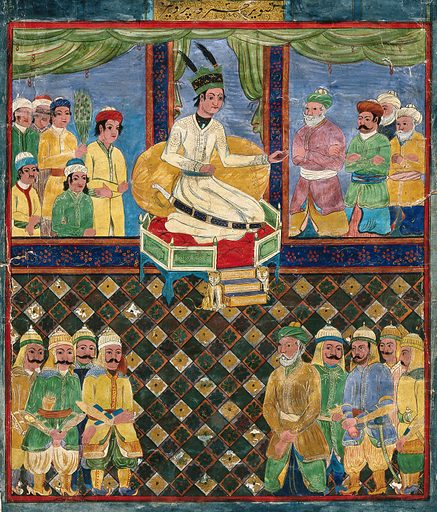 The court of Khusrau Parvīz. Gouache painting by an Indian artist, ca 1800. A later copy of a Turkomen style original. Work ID: gk6327pk.