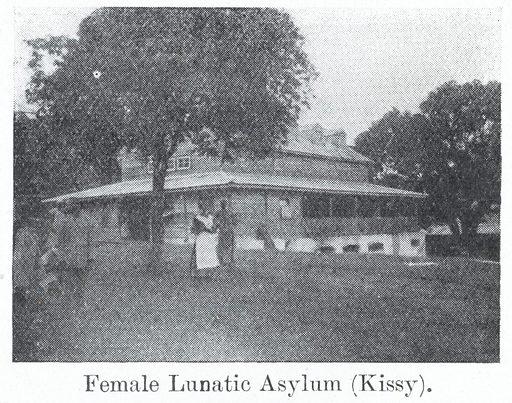 Photograph of a female lunatic asylum at Kissy in Sierra Leone. Mental illness. Work ID: ybzv5djy.