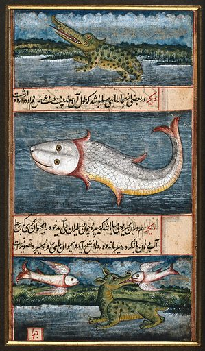 A crocodile, a gigantic fish and a sea monster flanked by two flying fish. Gouache painting by a Indian artist, ca 1750(?). Created 1750. Work ID: xhhuejx4.