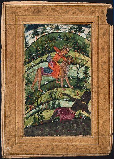 An Indian deity riding a lion (Durga?) shoots an arrow at a black demon. Gouache painting by an Indian artist, ca 1650(?). Created 1650. Work ID: p3tszky4.