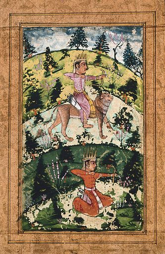 Two Indian deities in the form of archers, one riding a lion. Gouache painting by an Indian artist, ca 1650(?). Created 1650. Work ID: v78stvbe.