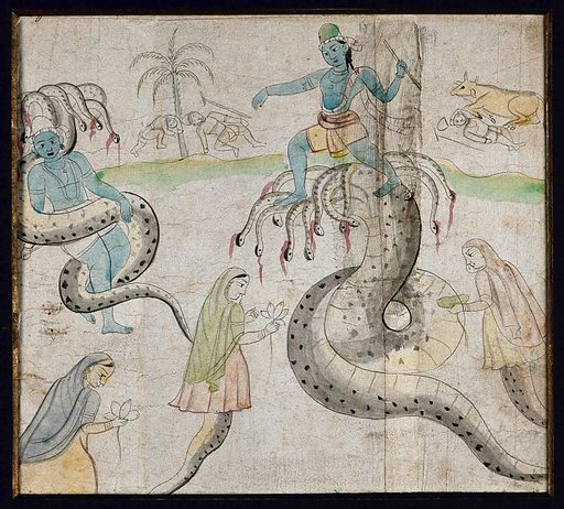 Two Indian deities with many headed snakes. Gouache painting by an Indian artist, ca 1750(?). Created 1750. Work ID: u5646w7n.