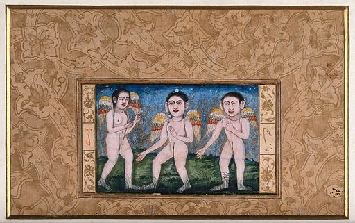 Three peris (fairies). Gouache painting by a Persian artist, ca 1700(?). Created 1700. Work ID: pnewat22.