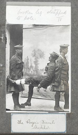 WWI: Demonstration of the Rogers trench stretcher. World War One: demonstration of the Rogers trench stretcher by soldiers in a photographic studio. Work ID: fu8zzztb.