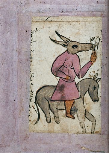 A man with a mule's head riding on a donkey. Gouache painting by an Indian artist(?). Verso of record number 582620i and related to records 582617i and 582619i. Work ID: zszybmcp.