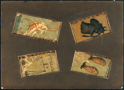 Four signs of the zodiac: Pisces (the fish), Libra (the scales), Scorpio (the scorpion) and Taurus (the bull). Gouache painting by a Persian artist. Created between 1800 and 1899?. Work ID: j7yctdbp.