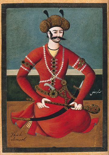 Shāh Ismael. Gouache painting by a Persian artist, Qajar period. Work ID: pjyvg9bh.