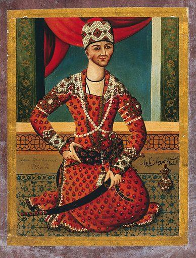 Āga Muhammad Khān. Gouache painting by a Persian artist, Qajar period. Work ID: t44n5zkp.