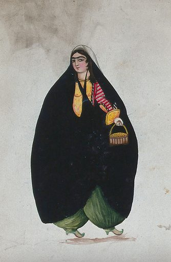 An unidentified Qajar woman standing. Gouache painting by a Persian artist, Qajar period. Work ID: z9hzsgbv.