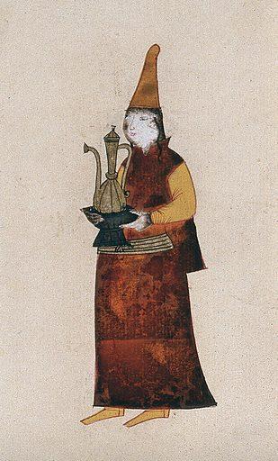A Turkish (?) woman carrying a coffee pot. Gouache. Turkey. Work ID: sky7979n.