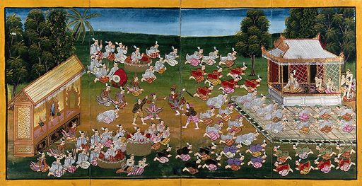 Burma: musicians and dancers perform while courtiers pay homage to a king. Gouache painting. Created between 1800 and 1899. Music – Performance. Dancers. Courts and courtiers. Burma. Work ID: d4xkag7h.