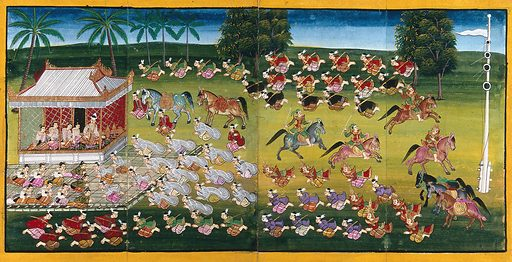 Burma: horsemen demonstrating their skill with the javelin as courtiers pay homage to the king. Gouache painting. Created between 1800 and 1899. Horsemanship. Courts and courtiers. Burma. Work ID: wgaz6agk.