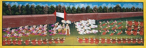 Burma: courtiers pay homage to a royal personage. Gouache painting. A thick red-brick wall marks the border of the parade ground. Created between 1800 and 1899. Courts and courtiers. Burma. Work ID: bgz67gmp.