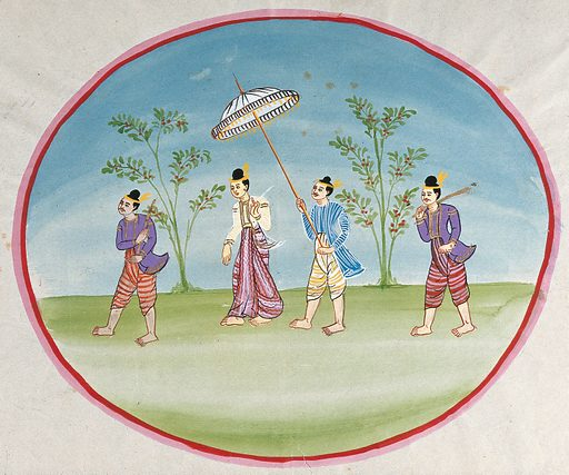 Burma: a lady attended by two standing bodyguards and by a servant holding a parasol. Watercolour. Created between 1800 and 1899. Courts and courtiers. Parasols. Burma. Work ID: jx5dcfvh.