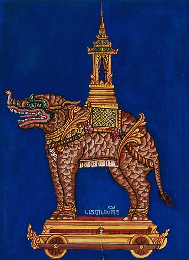 A model of a monstrous four-footed creature standing on a wagon with a howdah on its back. Gouache. Created between 1800 and 1899. Work ID: gehe6y7b.