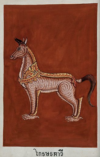 A monstrous four-footed creature with a horse-like head and feline claws. Gouache. Created between 1800 and 1899. Work ID: xhmuqe82.