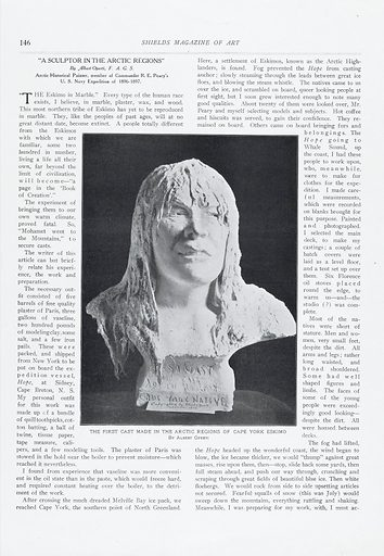 """Photo of plaster cast of Cape York native. Photograph of a plaster cast (made 1897) of a Cape York native (eskimo), the first cast made in the arctic regions of Cape York by Albert Operti. From an article """"A Sculptor in the Arctic Regions"""" by Albert Operti FAGS, in 'Shields Magazine of Art'. Work ID: pd2zm2b9."""