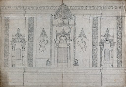 A wall of temple sculpture. Pencil drawing. From Burma?. Created between 1800 and 1899. Work ID: quhmwtbj.