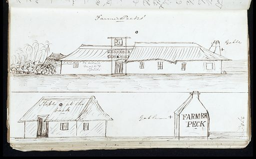 Ink sketch of Farmer Peck's refreshment station, on the road from Simon's Town to Cape Town, South Africa 1844. Work ID: k8zka8x2.