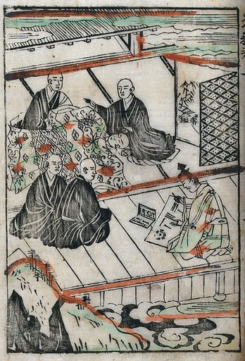 Abe no Seimei, the Taoist astrologer, foretells the imminent death of the priest Chika, at his bedside; a young monk, Shoku, offers his life to save that of the dying man. Coloured woodcut, 1646. Created 1646. Work ID: ed5nmt8t.