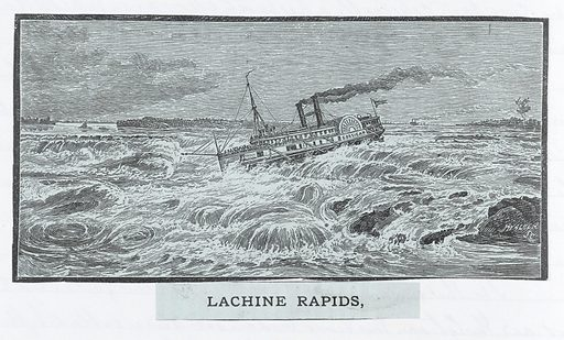 A drawing of a steam boat on the Lachine Rapids, Canada. Work ID: fq6p9hgm.