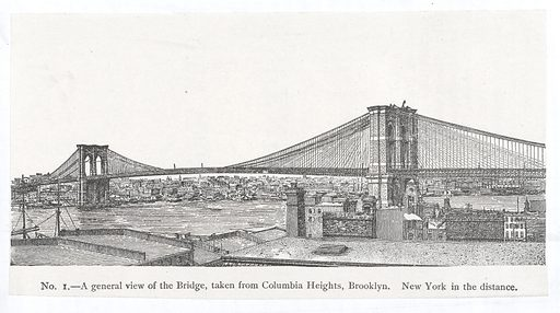 Brooklyn Bridge, New York. A general view of the bridge taken from Columbia Heights, Brooklyn. New York can be seen in the distance. From an unidentified brochure on the bridge. Work ID: z7truxqs.