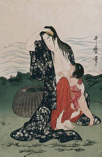 An ama (woman diver) on shore combs her wet hair while breast feeding a toddler. Colour woodcut after Utamaro, 1900/1920 (?). Created 1900/1920 (?). Contributors: Utamaro Kitagawa (1753?-1806). Work ID: ttq759eb.