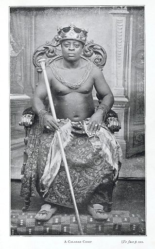 A Calabar chief, with sceptre and crown. Work ID: rbmrpau4.