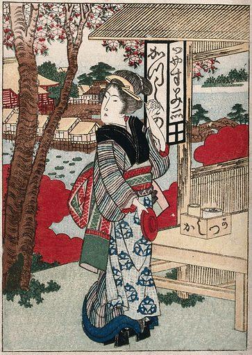 A teahouse waitress. Coloured woodcut by Gakutei, ca 1840 (?). Created 1840? (?). Contributors: Yashima Gakutei (1786?-1868). Work ID: zz6ezmnx.