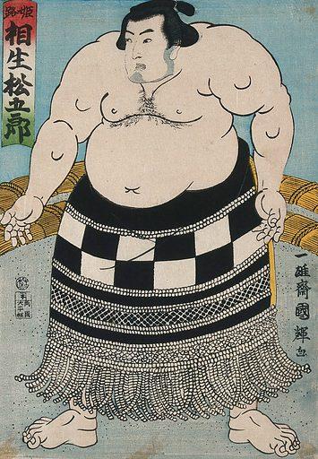 A wrestler in a ring facing left and wearing a formal apron. Colour woodcut by Kuniteru II, 1864. Created 1864. Contributors: Kuniteru Utagawa (1830?-1874). Work ID: pr8dj6uv.