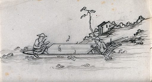 Two Chinese fishermen in their boat, fishing by moonlight. Ink drawing, China, 18 – ?. Created 1800–1899. Fishing. Work ID: sknufrrj.