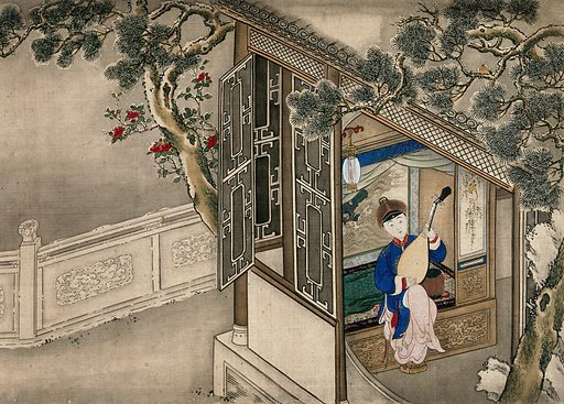 A Chinese lady, seated indoors, playing a string instrument at an open window; left, a carved stone wall. Gouache. Created between 1800 and 1899?. Women. House furnishings. China. Work ID: zahjw7xj.