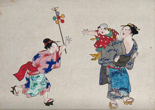 A woman runs to give a toy windmill to an infant being carried by another woman. Colour woodcut, 18 –. Japanese subject. Created between 1800 and 1899?. Work ID: wyk72u2b.