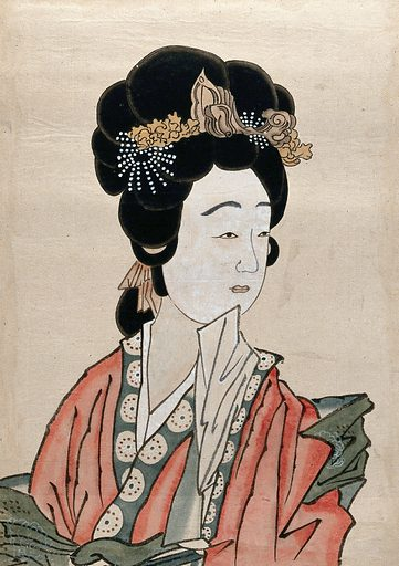A Japanese woman. Gouache, 18 –. Created between 1800 and 1899. Work ID: r8zq3u4v.