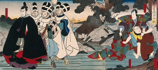 Actors in procession and a fight. Colour woodcut by Yoshitaki, early 1860s. Created early 1860s. Actors – Japan. Contributors: Yoshitaki Utagawa (1841–1899). Work ID: h49v4vhv.