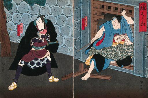 Actors in confrontation at a gate. Colour woodcut by Kunikazu, early 1860s. Created early 1860s. Actors – Japan. Contributors: Utagawa Kunikazu Kunikazu (active 1848–1868). Work ID: kbfe6vcg.