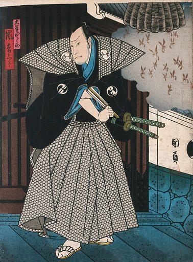 An actor representing an official by a wasps' nest. Colour woodcut by Kunikazu, early 1860s. Created early 1860s. Actors – Japan. Contributors: Utagawa Kunikazu Kunikazu (active 1848–1868). Work ID: m7u3c73u.