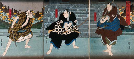 Actors in a confrontation before some steps. Colour woodcut by Kunikazu, early 1860s. Created early 1860s. Actors – Japan. Contributors: Utagawa Kunikazu Kunikazu (active 1848–1868). Work ID: kxxjatpf.