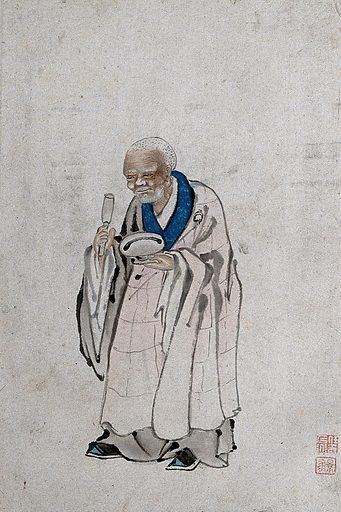 A Chinese man standing, holding a pestle and mortar. Watercolour. Created between 1800 and 1899?. China. Work ID: xm4gy7ua.