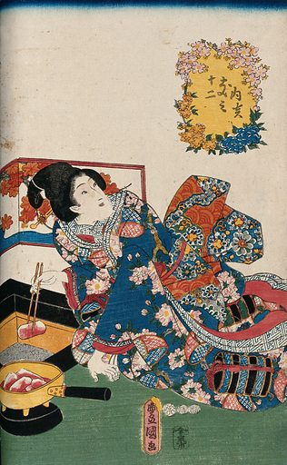 A woman placing glowing charcoal in a sand-filled box to provide warmth. Colour woodcut by Kunisada, 1852. Created 1852. Feminine beauty (Aesthetics) – Japan. Contributors: Toyokuni Utagawa (1786–1865). Work ID: w32hbgvr.