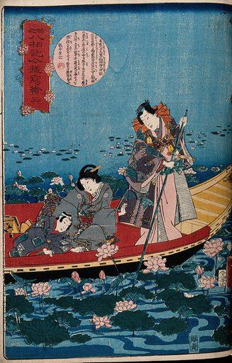 An elegant, Gunji-like figure, punting a boat through water-lilies: a woman and child in the boat look at the blossoms. Colour woodcut by Kunisada II, 1860. Created 1860. Contributors: Kunisada Utagawa (1823–1880). Work ID: gaty5ke8.