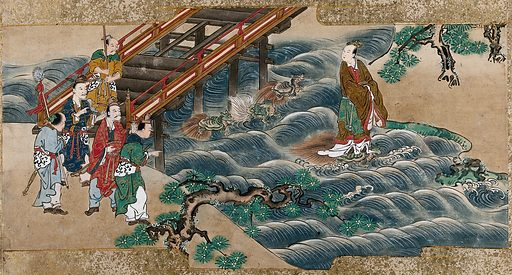 A Chinese holy man is carried by a turtle across the river, while passers-by look on, astonished. Gouache painting by a Chinese artist, ca 1850. Created 1850. Work ID: mm26fs39.