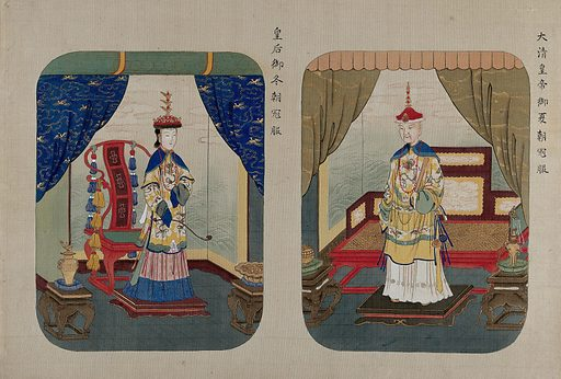A high-ranking official and his wife. Gouache painting. Created 1850. Work ID: zw8grumy.