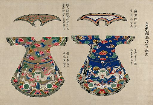 Two Chinese tunics and matching scarves embroidered with dragons and clouds. Gouache painting. Work ID: uagtaham.