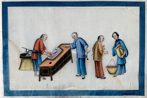 Two Chinese street vendors with two customers. Painting by a Chinese artist, ca 1850. Created 1850. Work ID: quvzjtny.