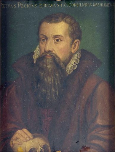 Petrus Peckius. Jurisconsult and member of the Grand conseil of Malines; b at Ziriczee, Zeeland, in 1529; studied at Louvain where he resided for almost 40 years, until he moved to Malines, where he died in 1589. Rests his right hand on a skull. Work ID: gtn2q5cn.